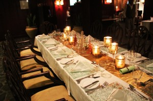 La Cascata table set up for Christmas Eve dinner